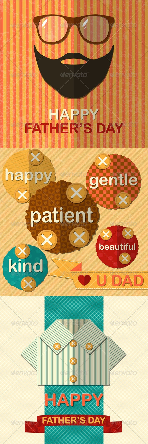 Three Father's Day Greetings Cards - Seasons/Holidays Conceptual