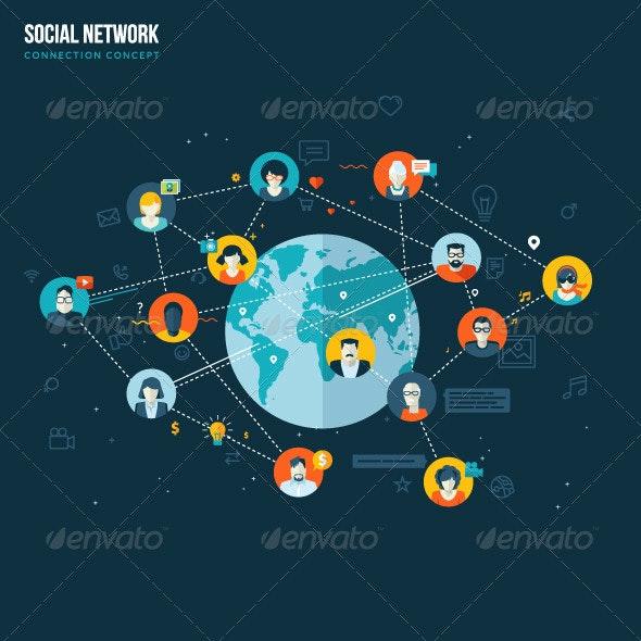 Flat Design Concept for Social Network - Communications Technology