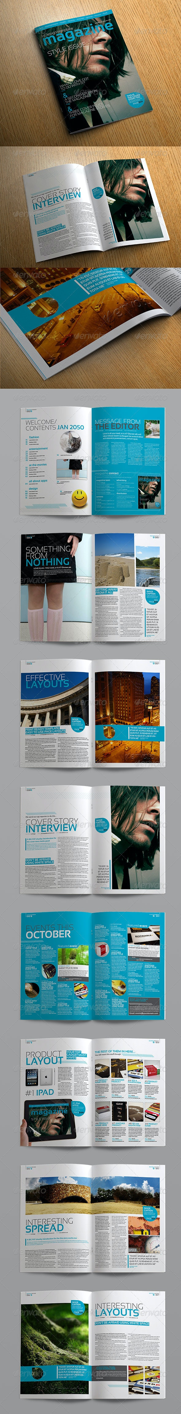Stylish InDesign Magazine Template - Magazines Print Templates