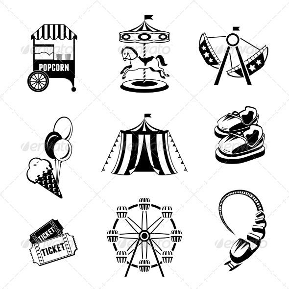 Amusement Park Elements - Web Elements Vectors