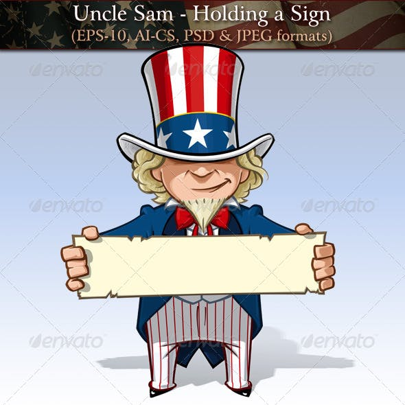 Uncle Sam - Holding a Sign