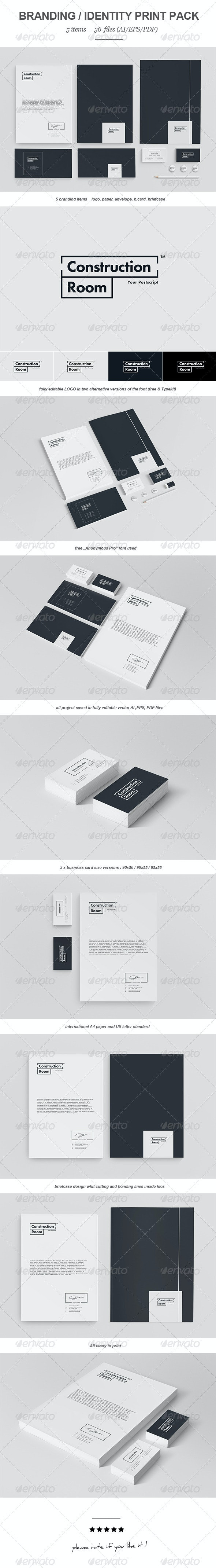 Construction Room Branding Print Pack - Stationery Print Templates