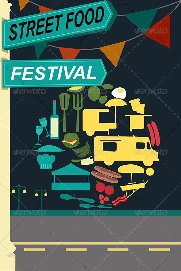 Street Food Festival Pamphlet - Backgrounds Decorative