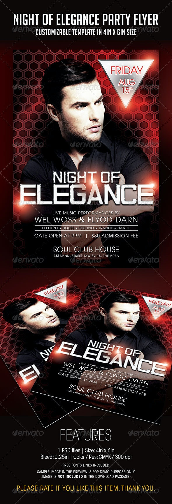Night of Elegance Party Flyer - Clubs & Parties Events