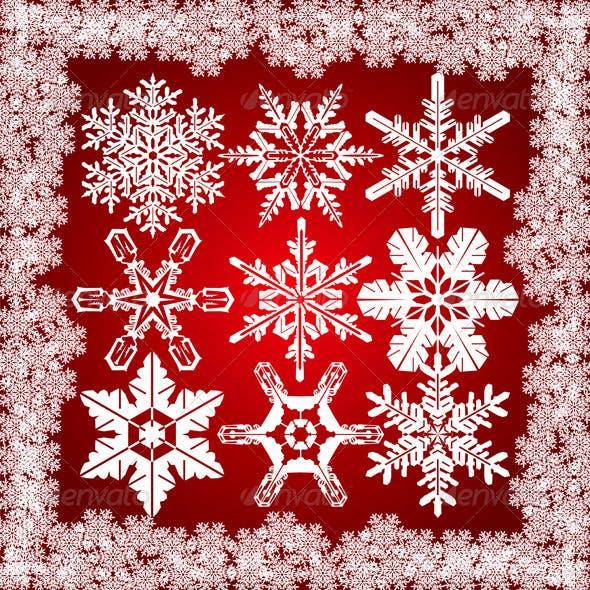 9 Snowflakes Set