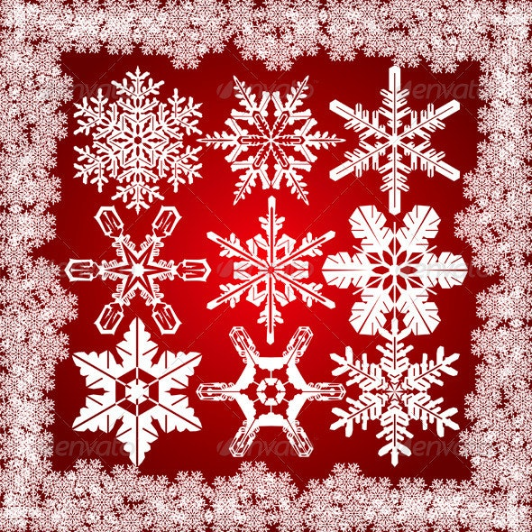 9 Snowflakes Set - Christmas Seasons/Holidays
