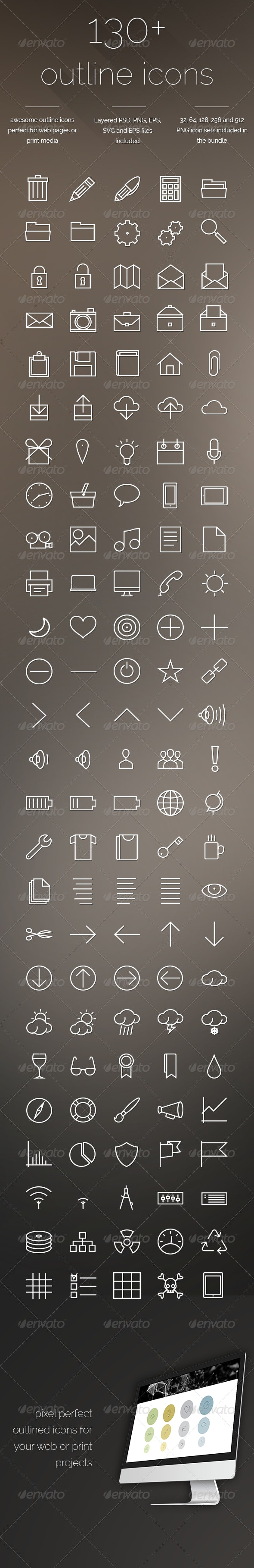 Outline Icons - Set of 130+ icons - Web Icons