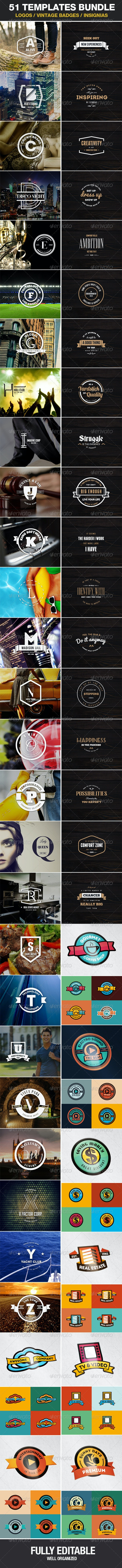 51 Templates / Logos / Vintage Badges / Insignias - Badges & Stickers Web Elements