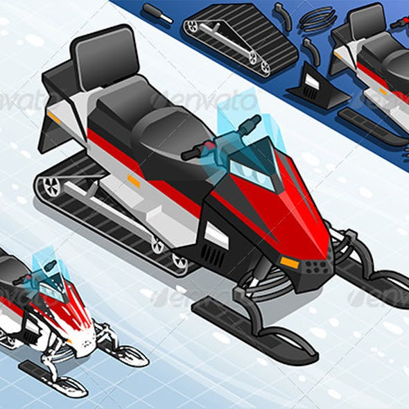Isometric Snowmobile in Front View