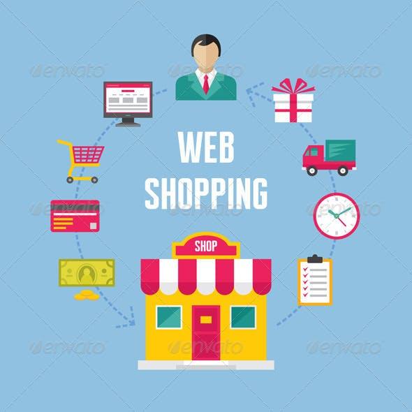 Web Shopping Concept Illustration - Icons Set