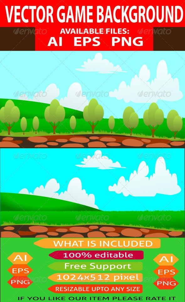 Vector Nature Game Background - Backgrounds Decorative