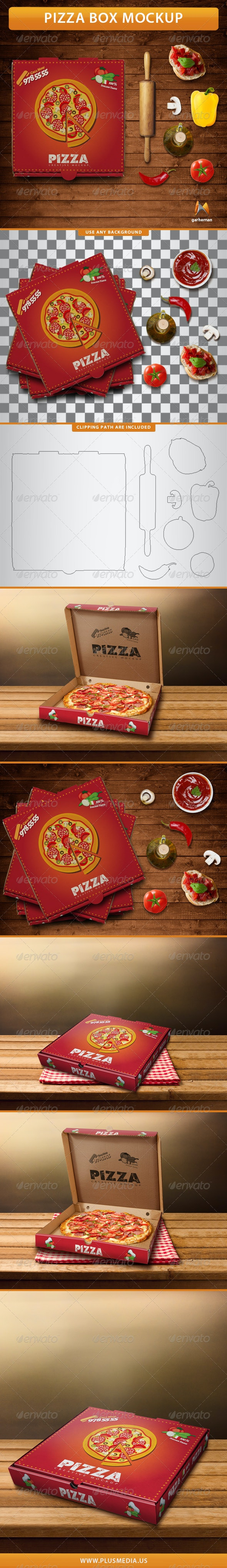 Pizza Box Mockup - Print Product Mock-Ups