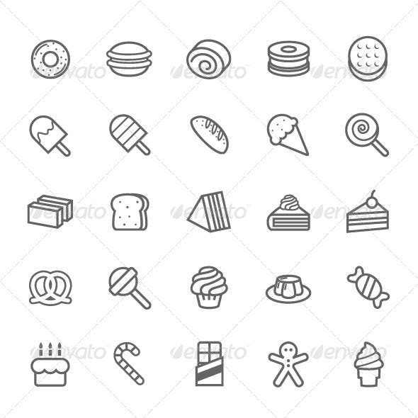 25 Outline Stroke Dessert and Sweet Icons