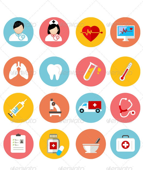 Medical And Health Flat Icons Set - Miscellaneous Icons