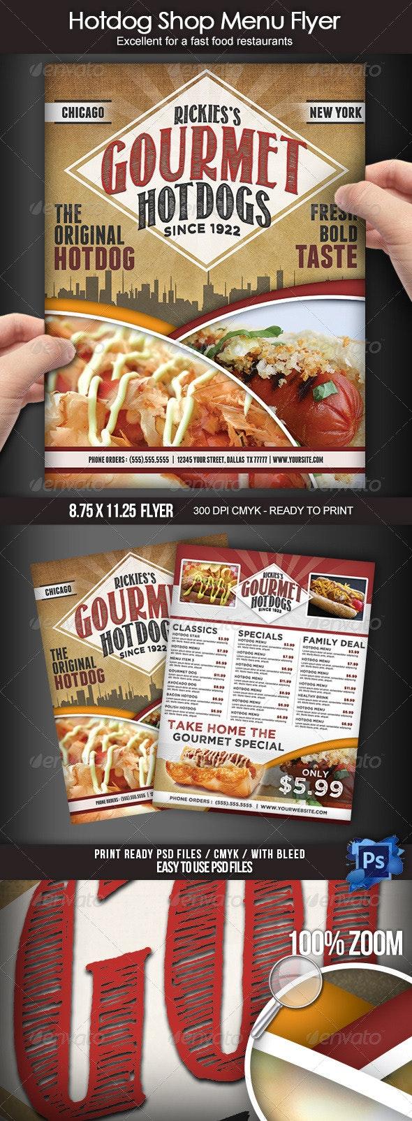 Hotdog Shop Menu Flyer - Food Menus Print Templates