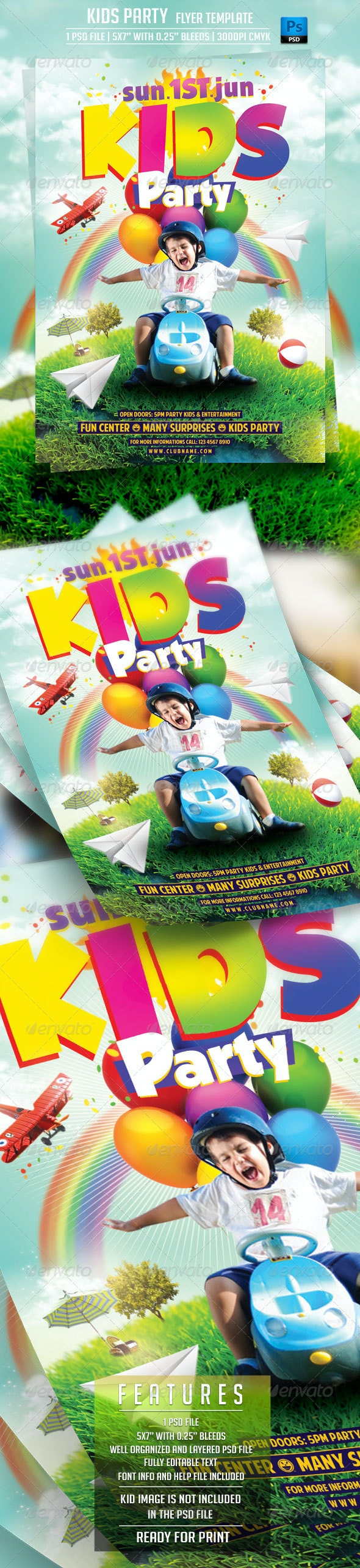 Kids Party Flyer Template - Flyers Print Templates