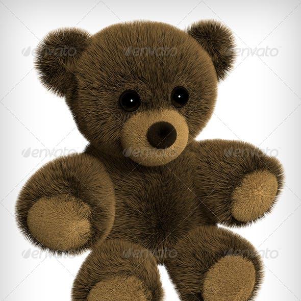 Brown Teddy Bear 3D Rendering