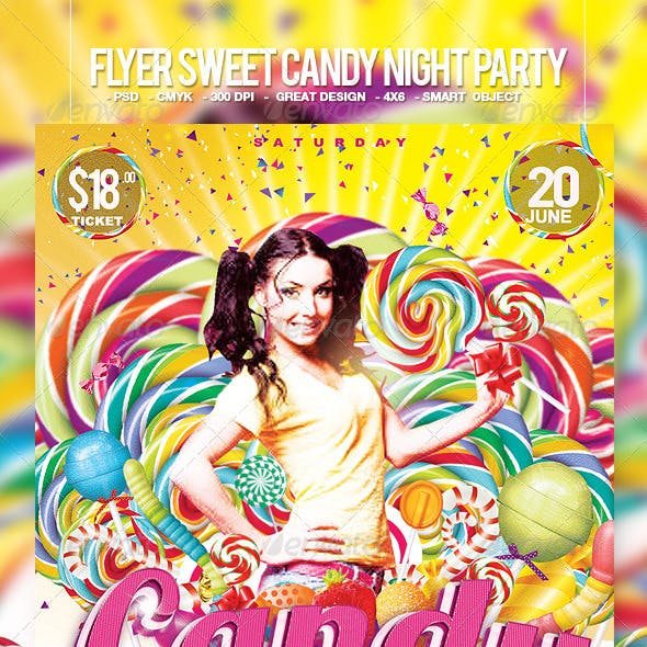 Flyer Sweet Candy Night Party
