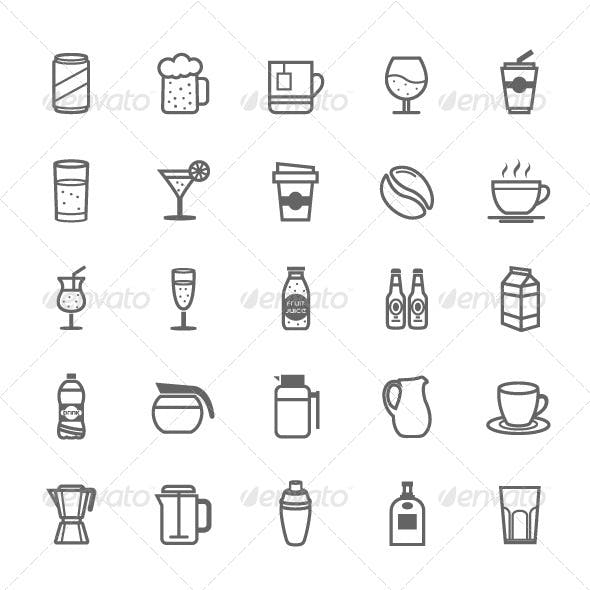 25 Outline Stroke Beverage Icons