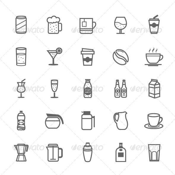 25 Outline Stroke Beverage Icons