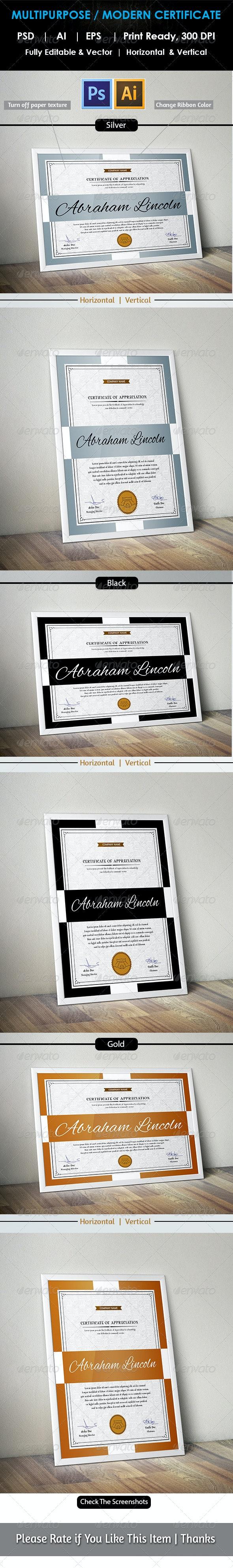 Simple Multipurpose Certificate GD005 - Certificates Stationery