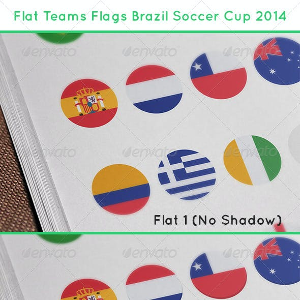 Flat Teams Flags Brazil Soccer Cup 2014