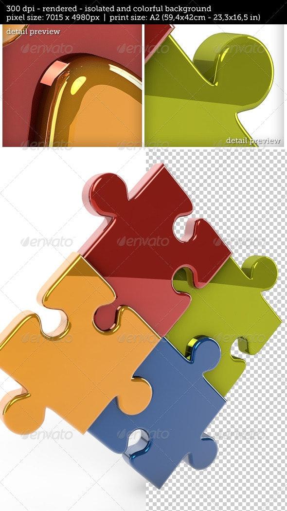 3D Reflective Puzzle Game Pieces  - 3D Renders Graphics