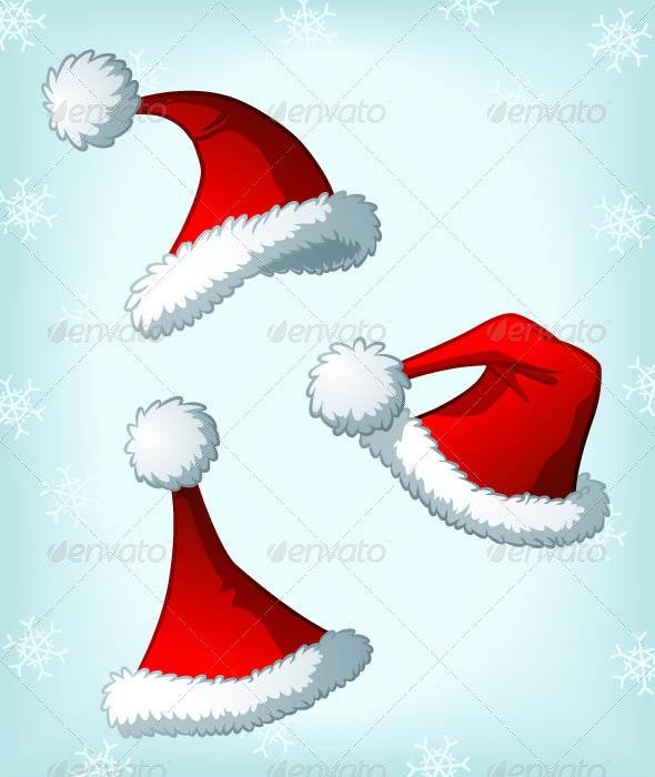 Cartoon Santa Claus' Christmas Hats - Christmas Seasons/Holidays