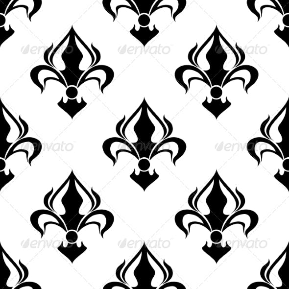 Seamless Floral Pattern with Abstract Black Lilies