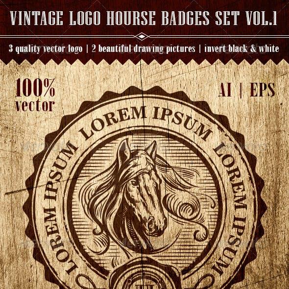 Vintage Logo Horse Badges Set