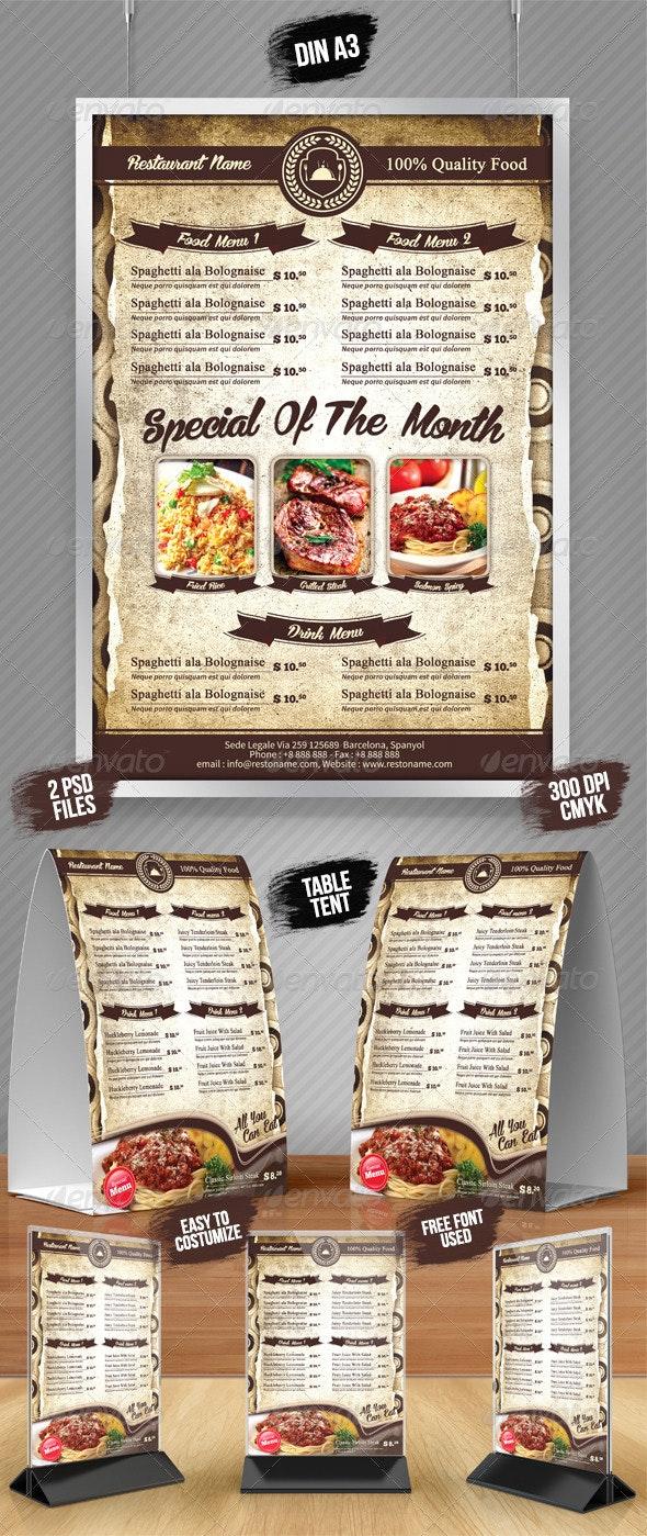 A3 Poster / A5 Table Tent Menu  - Food Menus Print Templates