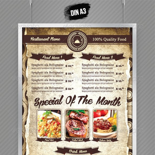 A3 Poster / A5 Table Tent Menu
