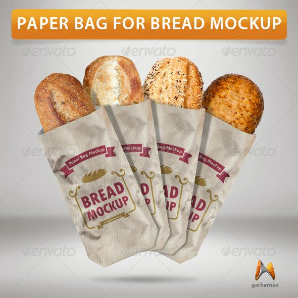 Paper Bag For Bread Mockup
