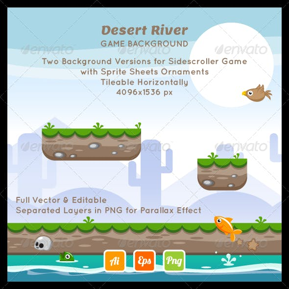 Desert River Game Background with Ornaments