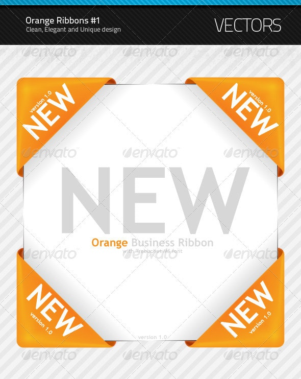 New Orange Ribbon #1 - Decorative Symbols Decorative