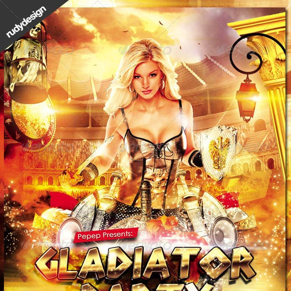 Gladiator Ancient Rome Greek Party Flyer