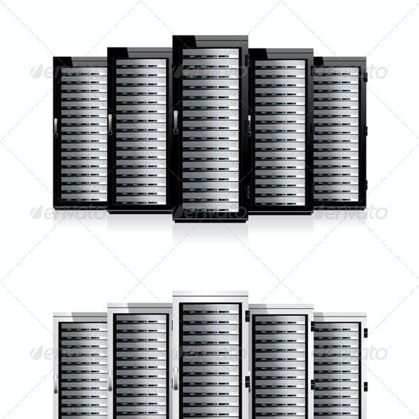 Five Servers with World Globe