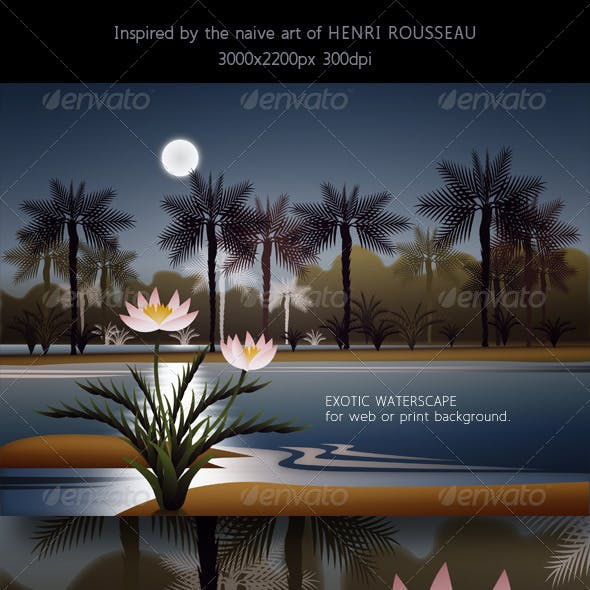 Landscape with Water, Palm Trees & Full Moon