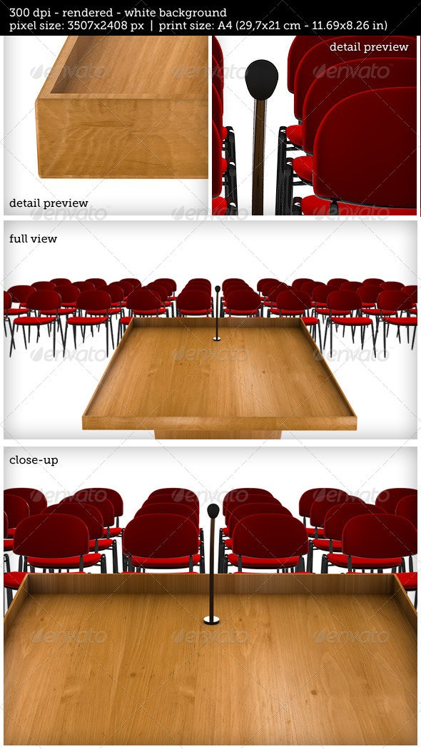 Podium on White Background with Chairs - 3D Renders Graphics