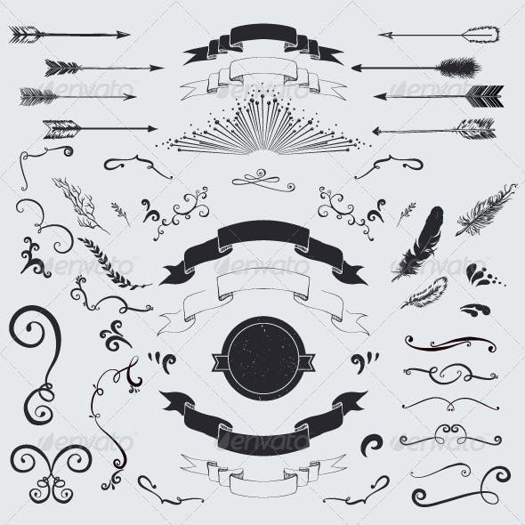 Vector decorative elements set