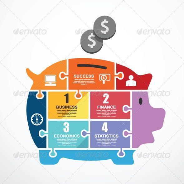 Infographic Template  Piggy Bank Jigsaw Banner