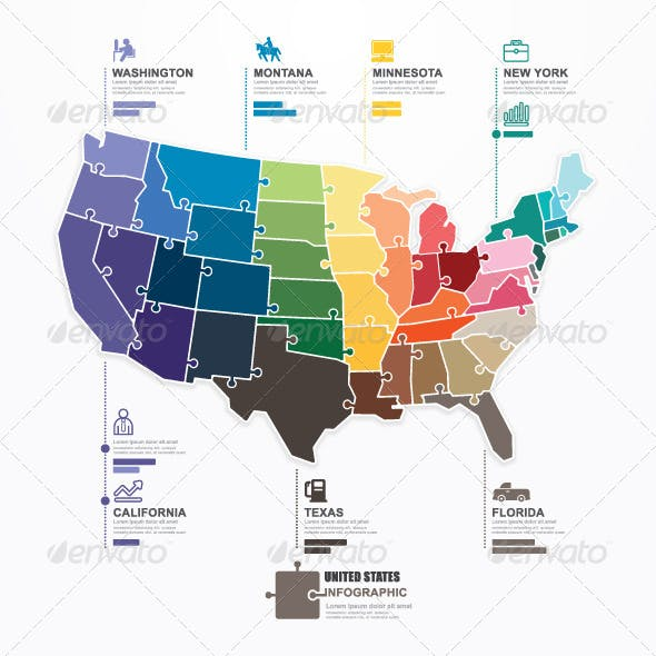 US Map Infographic Template Jigsaw Concept