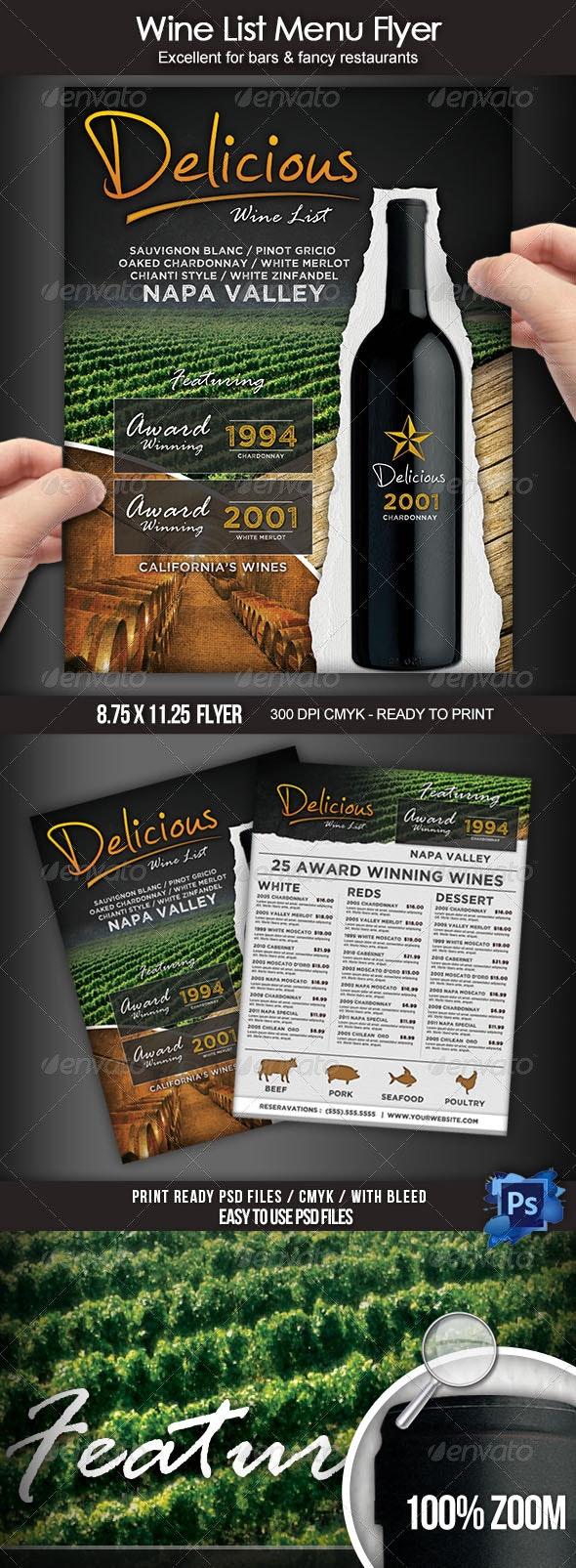 Wine List Menu Flyer - Food Menus Print Templates