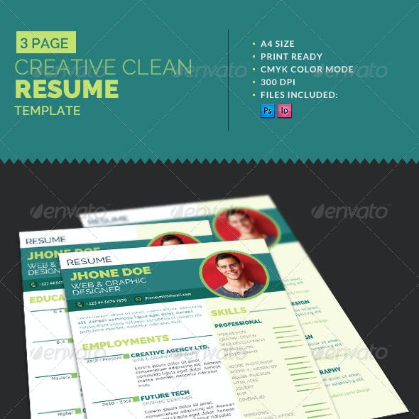 3-Page Creative Clean Resume Template