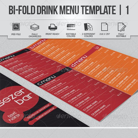 Bi-Fold Drink Menu Template 1