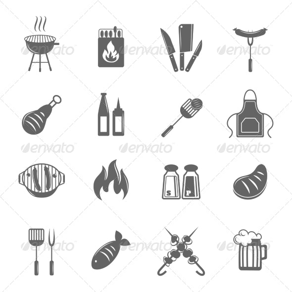 BBQ Grill Icons Set - Food Objects