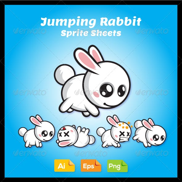 Jumping Game Character - Rabbit Sprite Sheet