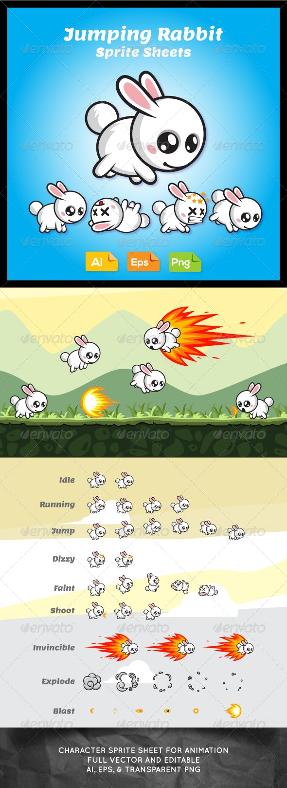 Jumping Game Character - Rabbit Sprite Sheet - Sprites Game Assets