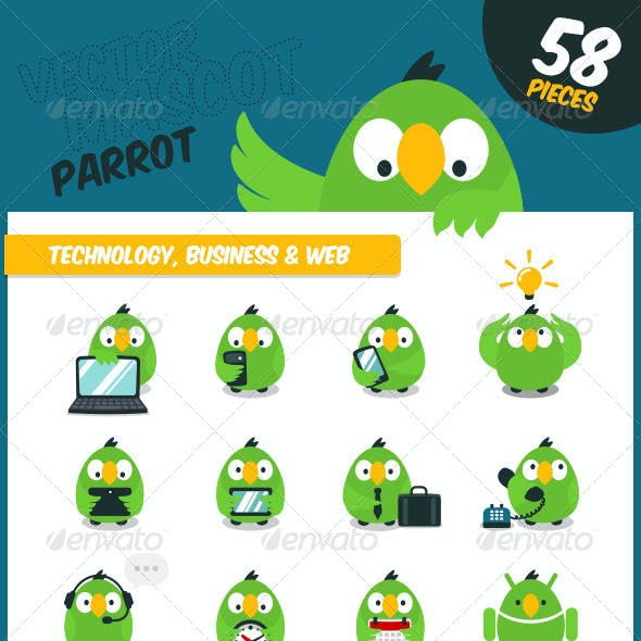 Parrot - Vector Website Mascot