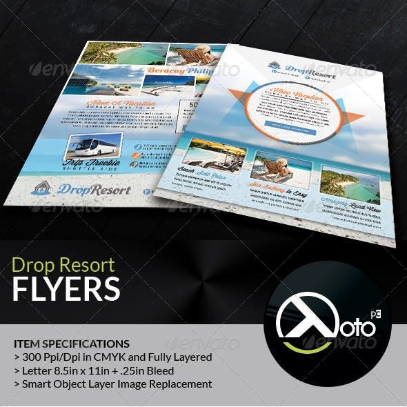 Drop Beach Resort Vacation Trip Flyers